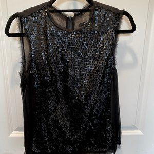 Nanette Lepore | Black Sequin Sleeveless Blouse